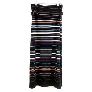 WHBM // Multi-color striped Black Maxi Skirt, NWOT